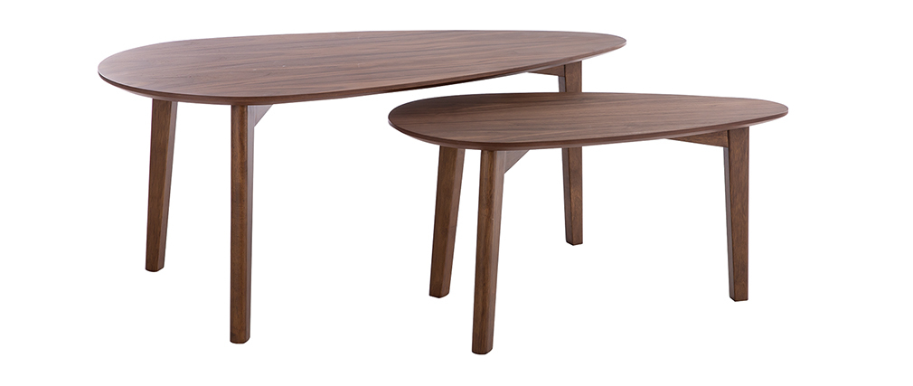 Tables basses vintage noyer (lot de 2) ARTIK