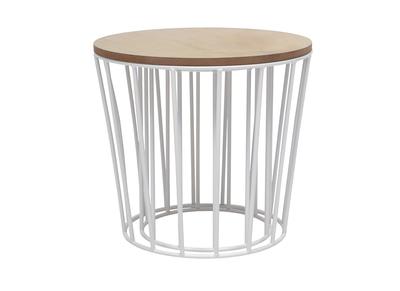Tables d'appoint design bois et pieds blancs lot de 2 CYCLOS
