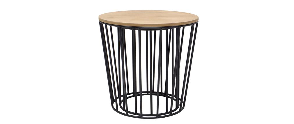 Tables d 39 appoint design bois et pieds noirs lot de 2 for Table d appoint noire