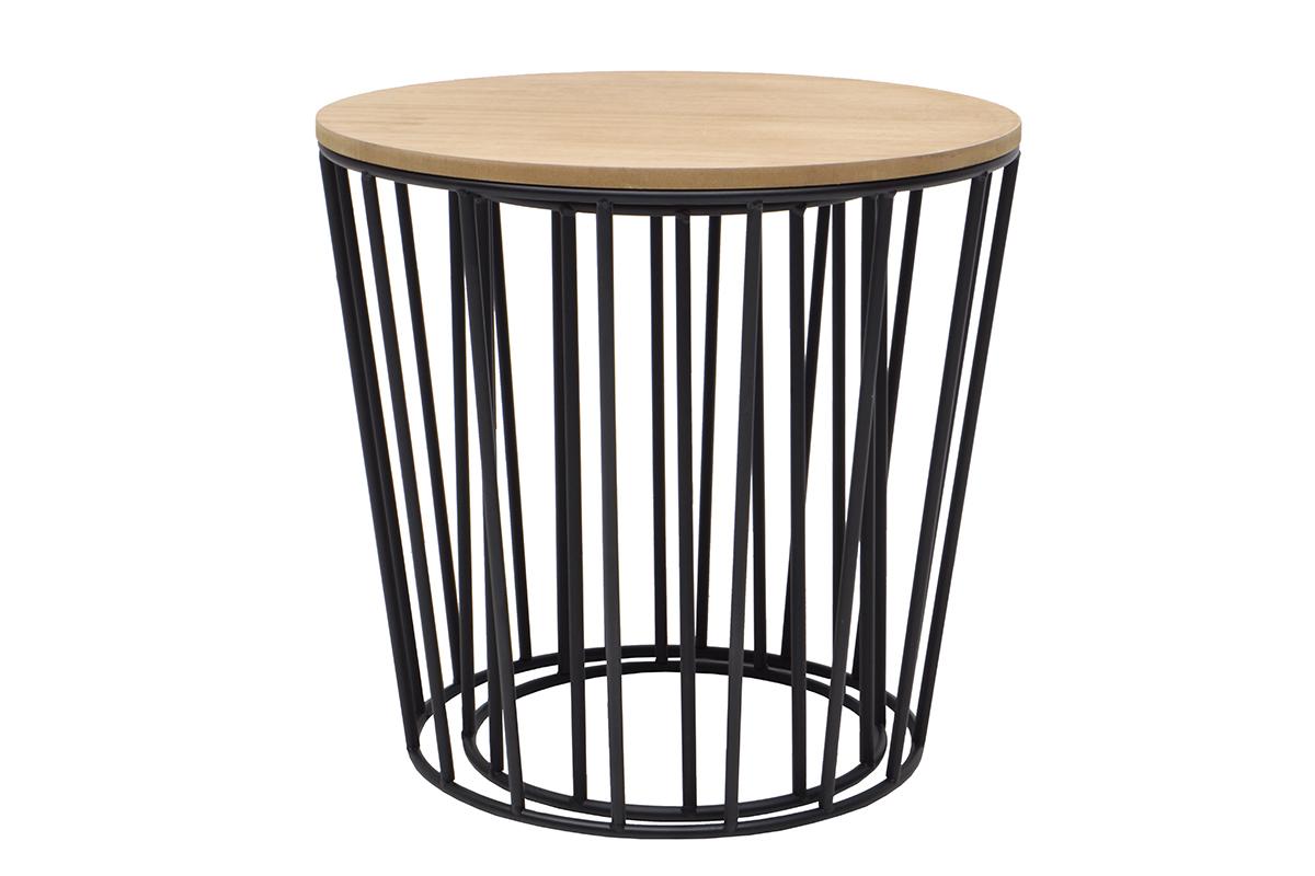 Tables d 39 appoint design bois et pieds noirs lot de 2 - Table d appoint en bois ...