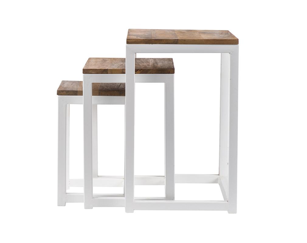 Tables Gigognes Bois Et Metal Blanc Lot De 3 Rochelle Miliboo