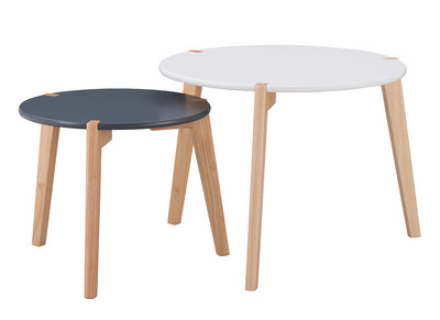 Tables Gigognes Design Gris Et Blanc Avec Pieds Bois Clair Lot De 2 Kobe