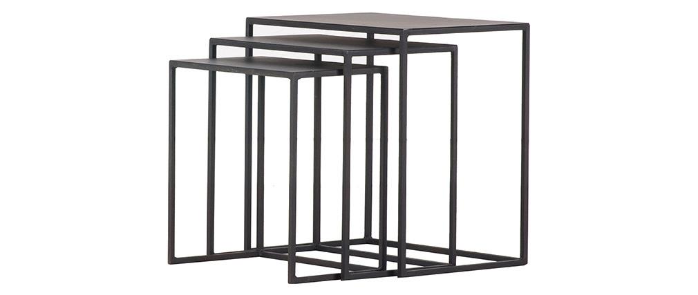 Tables gigognes en métal noir KARL