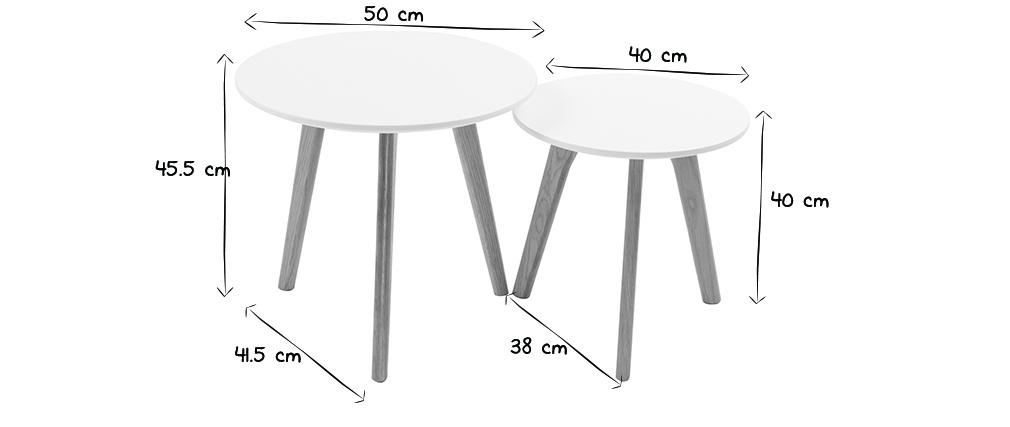 Tables gigognes rondes chêne et blanc (lot de 2) GILDA
