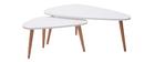 Tables gigognes scandinaves blanches et bois clair (lot de 2) ARTIK