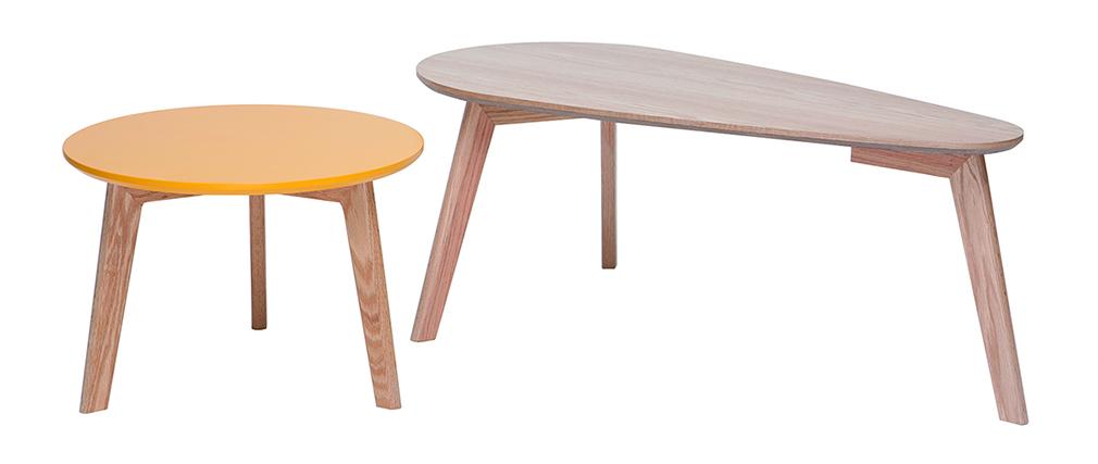 Tables gigognes scandinaves chêne et jaune (lot de 2) ARTIK
