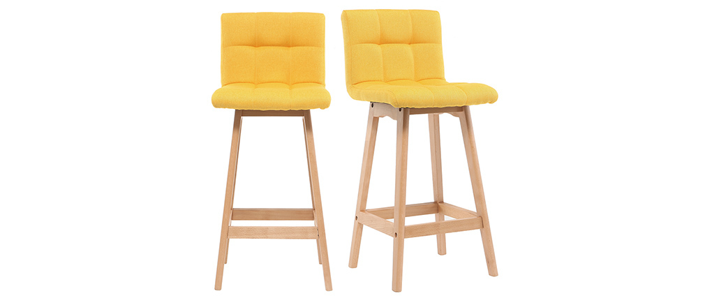Tabourest de bar bois et jaune 65 cm (lot de 2) KLARIS