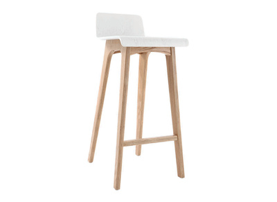 Tabouret / chaise de bar design bois naturel et blanc scandinave BALTIK