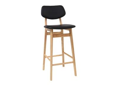 Tabouret / chaise de bar design noire et bois naturel 65 cm NORDECO