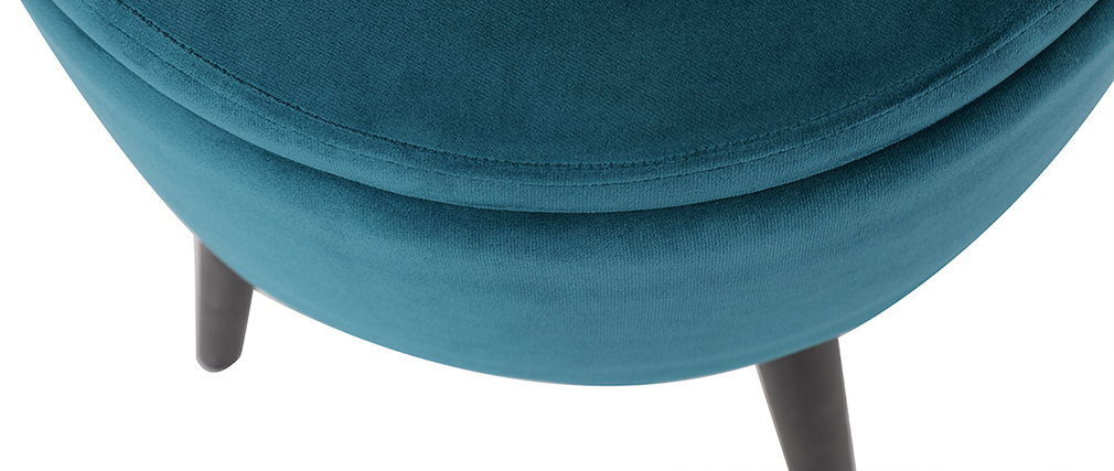 Tabouret coffre en velours bleu canard MADO