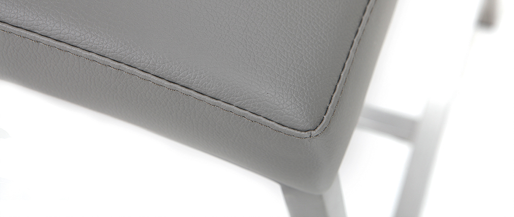 Tabouret de bar aluminium brossé PU gris clair 66 cm (lot de 2) OLLY