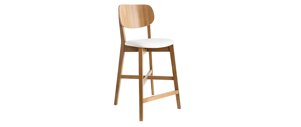 Tabouret de bar chêne et assise blanche H65 cm LUCIA