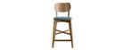 Tabouret de bar chêne et assise gris chiné H65 cm LUCIA