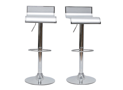 Tabouret de bar / cuisine argent WAVES (lot de 2)