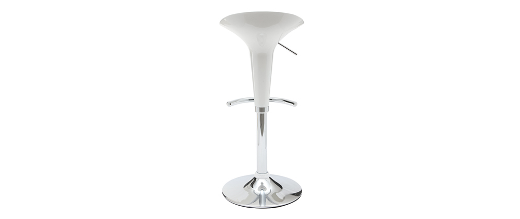 Tabouret de bar / cuisine blanc design GALAXY (lot de 2)