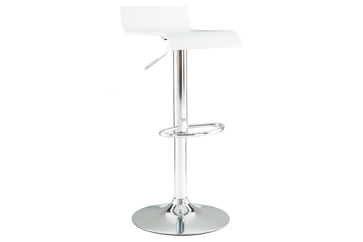 Tabouret de bar cuisine blanc design surf miliboo for Tabouret bar cuisine