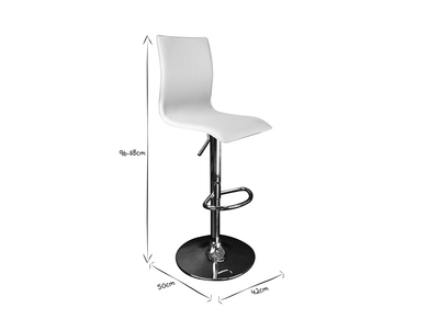 Tabouret de bar / cuisine blanc moderne SURF ALTO (lot de 2)