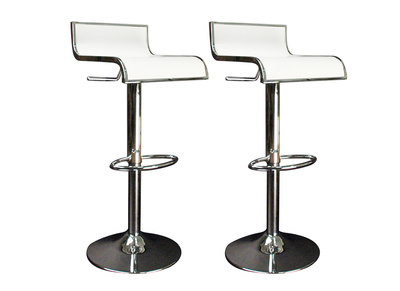 Tabouret de bar / cuisine blanc WAVES (lot de 2)