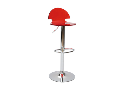 Tabouret de bar / cuisine design en plexiglas rouge transparent ORION