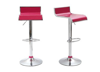 Tabouret de bar / cuisine magenta design WAVES (lot de 2)