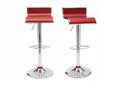 Tabouret de bar / cuisine moderne lie de vin WAVES (lot de 2)