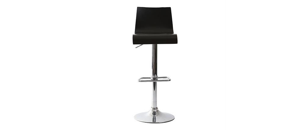 tabouret de bar cuisine noir moderne newsurf lot de 2. Black Bedroom Furniture Sets. Home Design Ideas
