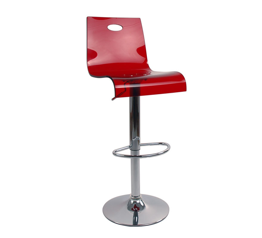 Tabouret de bar cuisine plexiglas rouge transparent for Tabouret bar cuisine