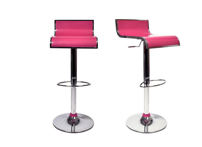Tabouret de bar / cuisine rose design WAVES (lot de 2)