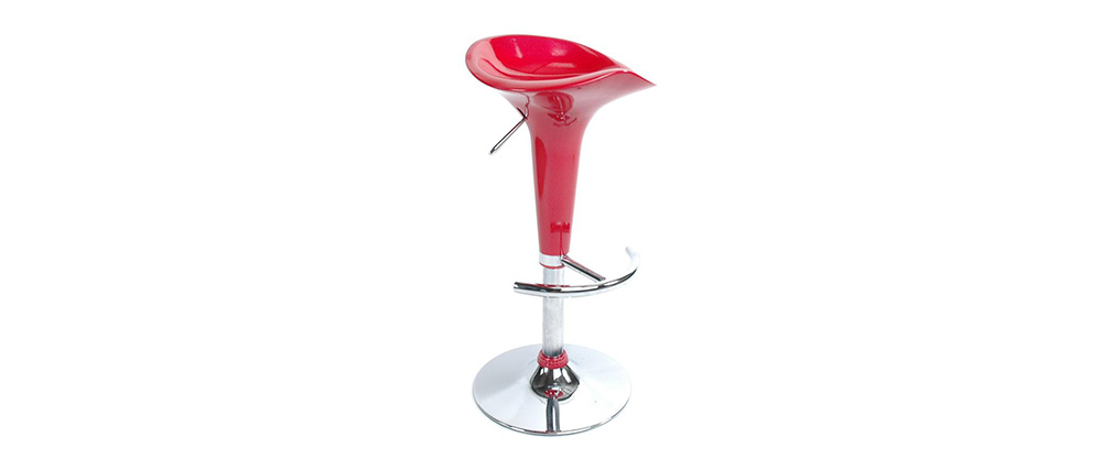 Tabouret de bar / cuisine rouge design GALAXY (lot de 2)