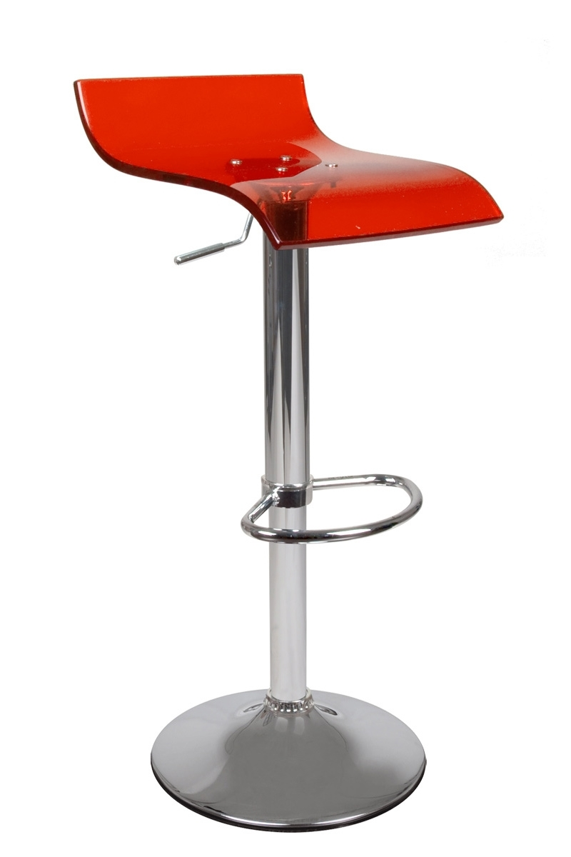 Tabouret de bar cuisine rouge transparent design vega for Tabouret bar cuisine