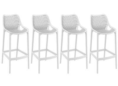 Tabouret de bar design 65 cm blanc lot de 4 LUCY