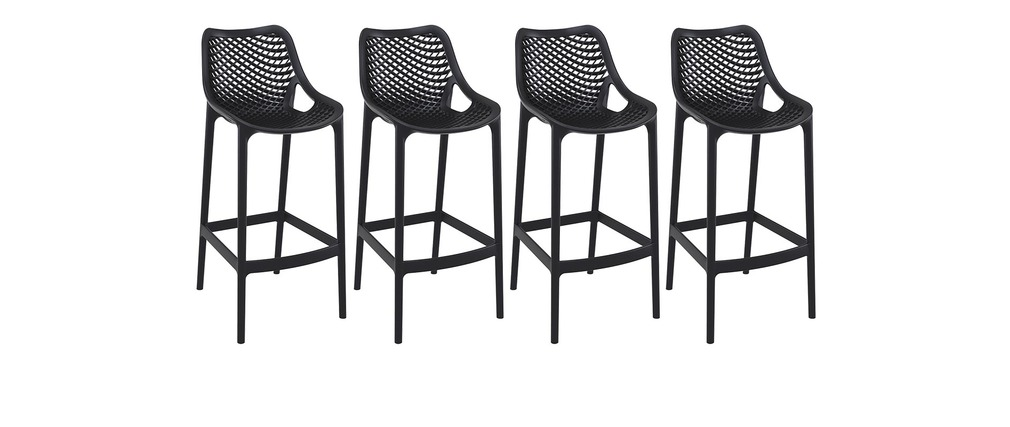 tabouret de bar design 65 cm noir lot de 4 lucy miliboo. Black Bedroom Furniture Sets. Home Design Ideas