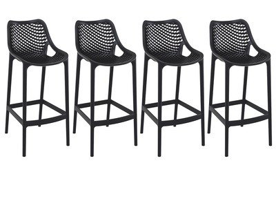 Tabouret de bar design 65 cm noir lot de 4 LUCY