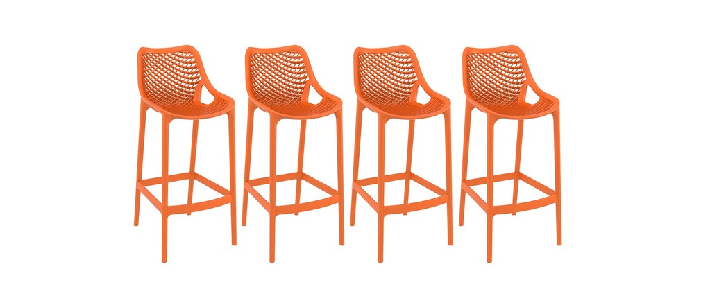 tabouret de bar design 65 cm orange lot de 4 lucy miliboo. Black Bedroom Furniture Sets. Home Design Ideas