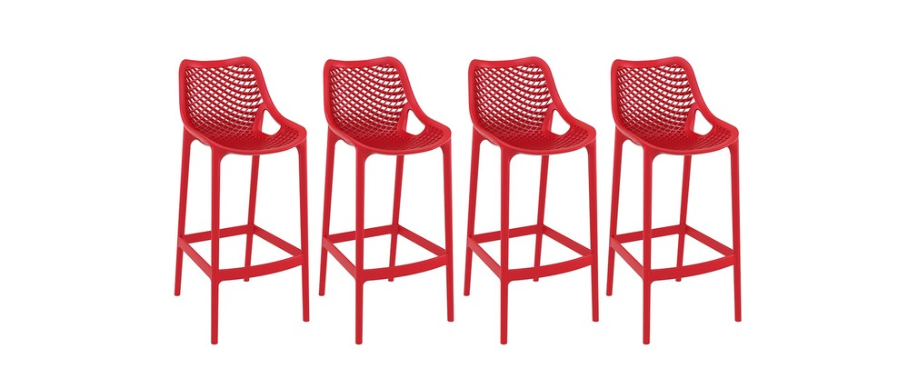 tabouret de bar design 65 cm rouge lot de 4 lucy miliboo. Black Bedroom Furniture Sets. Home Design Ideas
