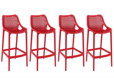 Tabouret de bar design 65 cm rouge lot de 4 LUCY