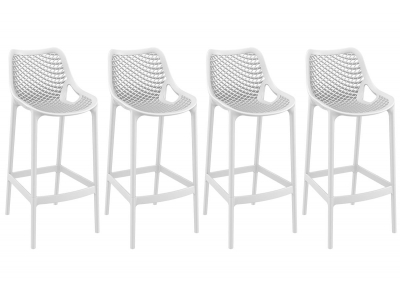Tabouret de bar design 75 cm blanc lot de 4 LUCY