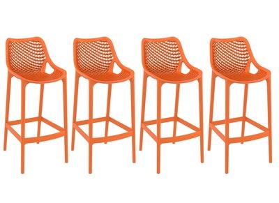 Tabouret de bar design 75 cm orange lot de 4 LUCY
