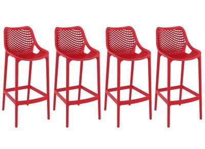 Tabouret de bar design 75 cm rouge lot de 4 LUCY