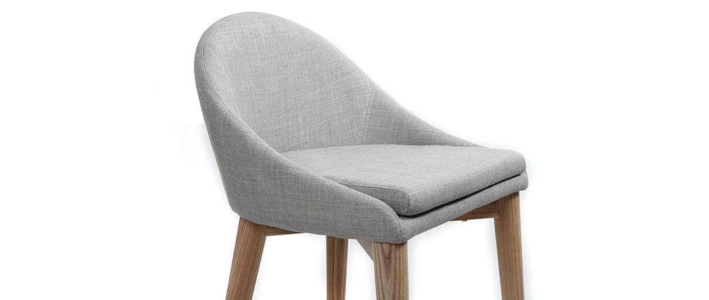 Tabouret de bar design 75cm bois tissu gris clair DALIA