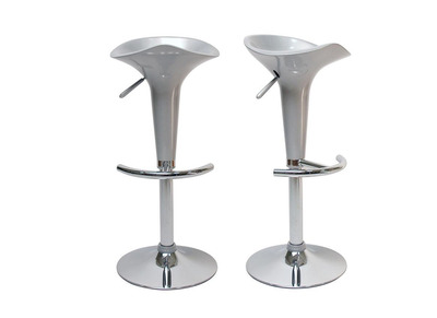 Tabouret de bar design argent GALAXY (lot de 2)