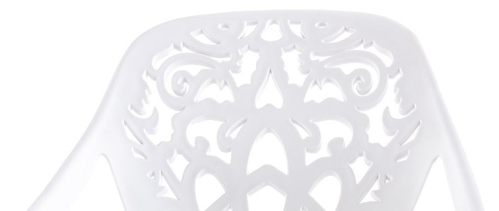 Tabouret de bar design baroque blanc BAROCCA