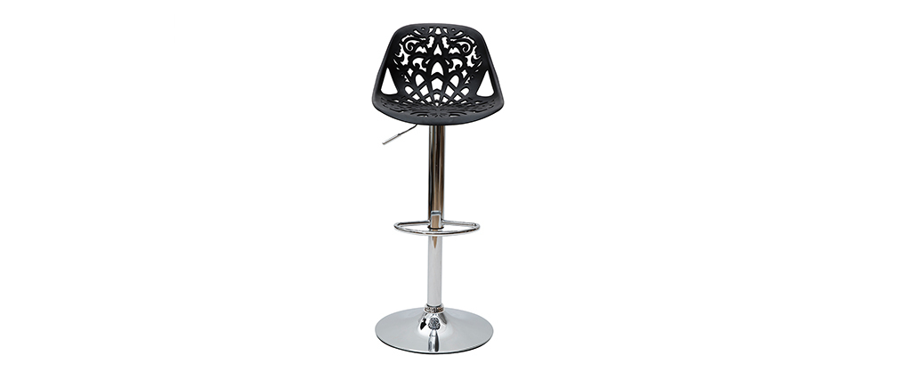 Tabouret de bar design baroque noir  lot de 2 BAROCCA