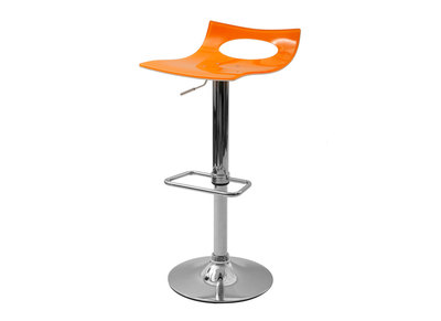 Tabouret de bar design bicolore orange et blanc CALYPSO