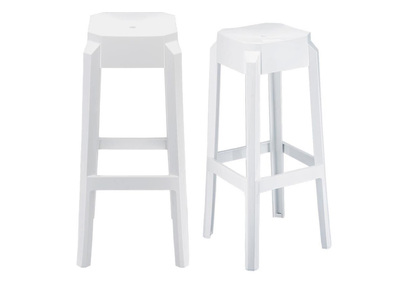 Tabouret de bar design blanc 75cm lot de 2 CLEAR