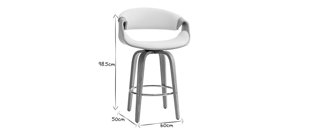 Tabouret de bar design blanc et bois clair 65 cm ARAMIS