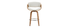 Tabouret de bar design blanc et bois clair 65 cm BENT