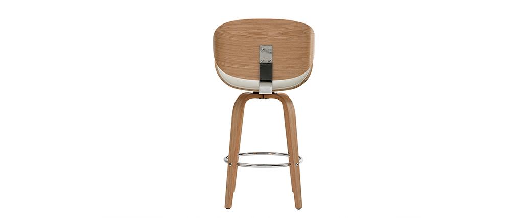 Tabouret de bar design blanc et bois clair 65 cm WALNUT