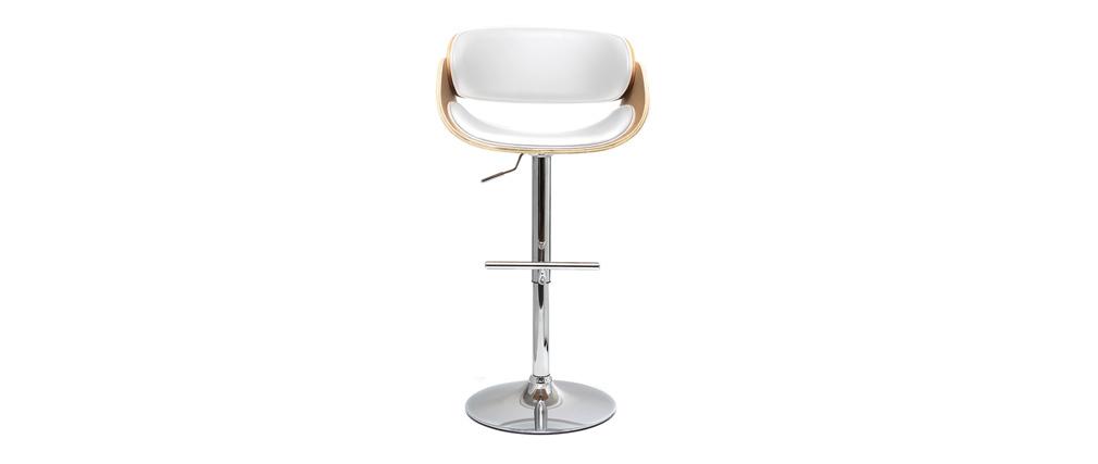 Tabouret de bar design blanc et bois clair BENT