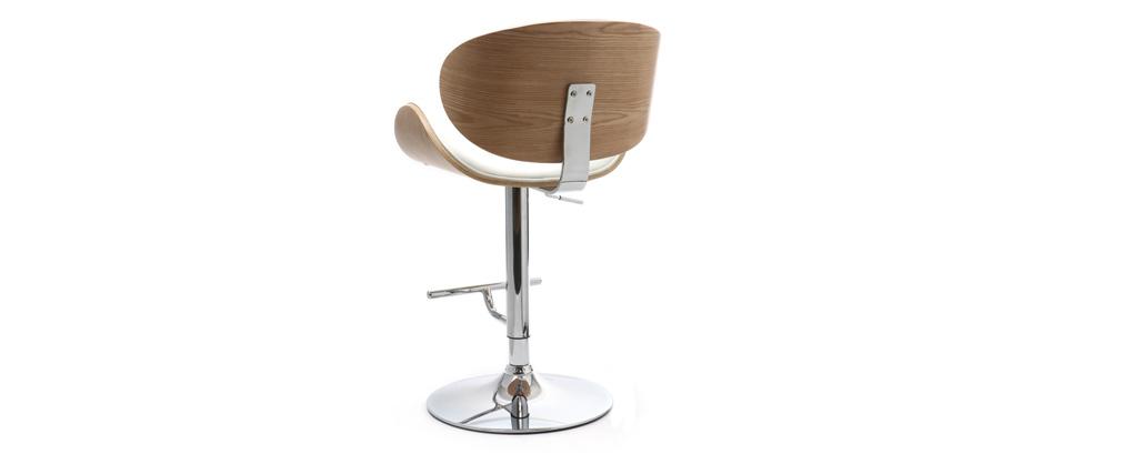 Tabouret de bar design blanc et bois clair WALNUT